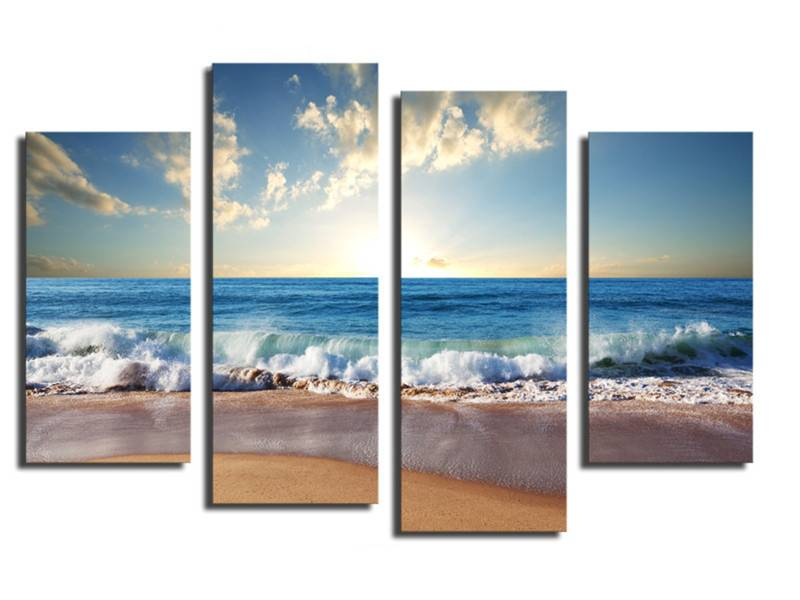 canvas doek in 4 delen met afbeelding zee