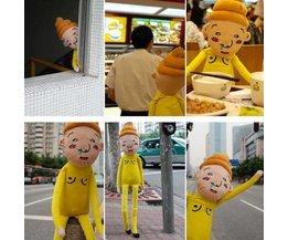 Grappig Kussen met Lucky Star Yellow Poop Man