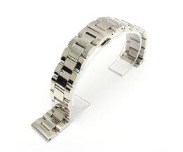 Zilveren Horlogeband Met Vlindersluiting