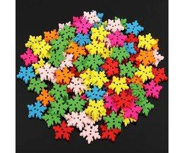 Knopen Set met Sneeuwvlok Design 100 Stuks