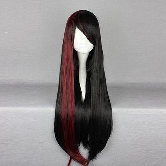 Pruik in Zwart met Rood