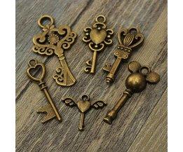 Vintage Sleuteltjes Voor Kettingen & Armbandjes 6 Stuks
