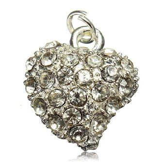 Hartvormige Hanger met Kristal Steentjes