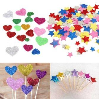 Foam Stickers Glitter Hartjes Bloemen Sterren 30Stuks