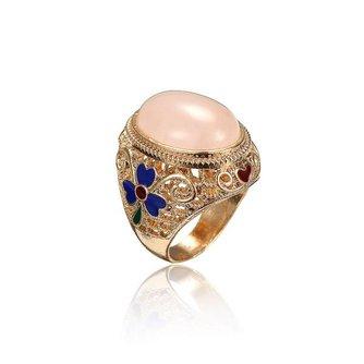Vintage Ring met Agaat, Lapis Lazuli of Chalcedoon Edelsteen