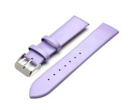 Paarse Horlogeband van Leer 20mm