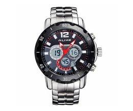 Horloge met Alarm Heren RVS