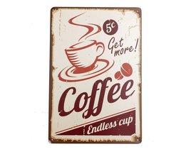 Tinnen Bordje met Koffie Design