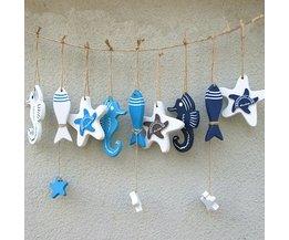 Houten Decoratie Hangers Zeeleven in Mediterrane Stijl