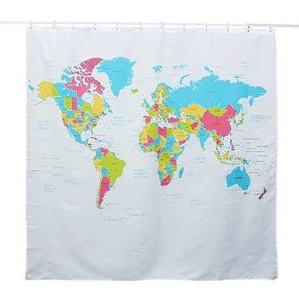 Waterdicht Douchegordijn met Wereldkaart Print