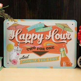 Vintage Happy Hour Wandplaat van Metaal 30 x 20CM
