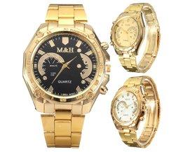 Modieus Goudkleurig Horloge met Roestvrijstalen Bandje
