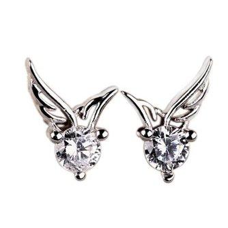 Verzilverde Engelenvleugels Oorbellen met Kristallen