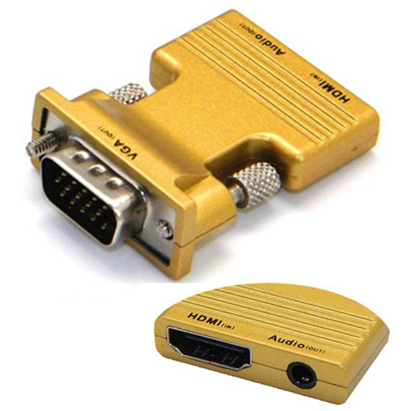 Gele HDMI female naar VGA male adapter