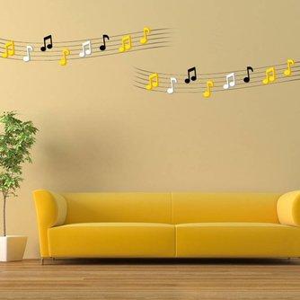 3D Muzieknoten Muursticker van Acryl 2 Stuks