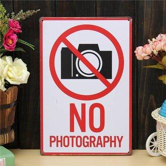 No Photography Wandplaat van Metaal