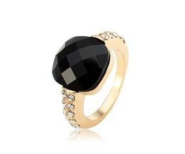 Metalen Ringen met Zwarte Steen