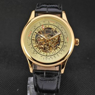 Gouden quartz horloge met lederen armband