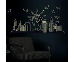 Muursticker New York Skyline Vrijheidsbeeld Fluorescerend 130cm