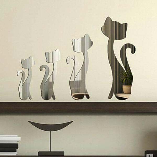 Deze grappige set bestaat uit vier muurstickers in de vorm van schattige poezen. de muurstickers hebben een ...