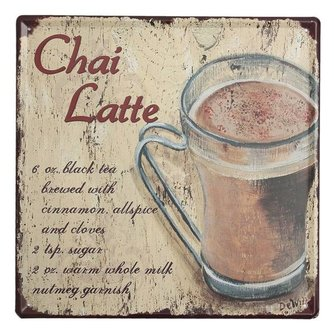 "Emaille Plaat ""Chai Latte"""