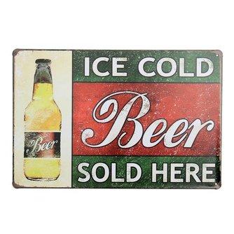 Vintage Bier Reclamebord van Metaal