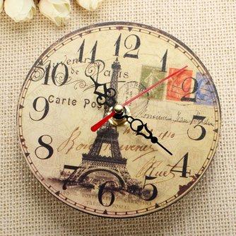 Vintage Houten Eiffeltoren Klok