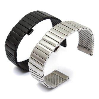 18 mm Dubbele Stalen horloge armband