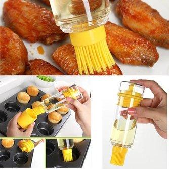 Gele Oliefles met Siliconen Borstel