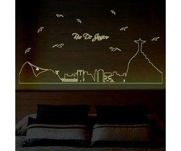 Muurstickers Skyline Rio de Janeiro Lichtgevend