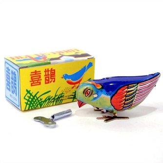 Vintage Kleurrijke Opwindvogel van Tin
