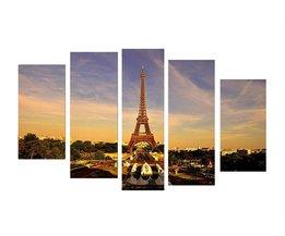Canvas Eiffeltoren Set 5 Stuks