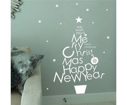 Muurstickers Tekst Merry Christmas Happy New Year