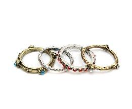 Punk Vintage Ringen in Brons en Zilver 4 Stuks