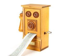 Retro Telefooncel Muziekdoos van Hout