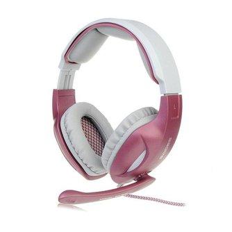 Roze Gaming hoofdtelefoon met microfoon en LED verlichting