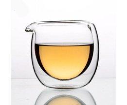 Hittebestendig thee kopje met dubbelzijdig glas