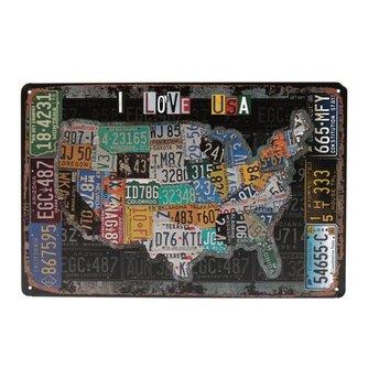 "Wandbord van Tin ""I Love USA"""