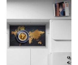PAG Antislip Vloersticker 3D met Wereldkaart en Koffiekop