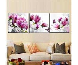 Drieluik-Schilderij doek met Bloemen