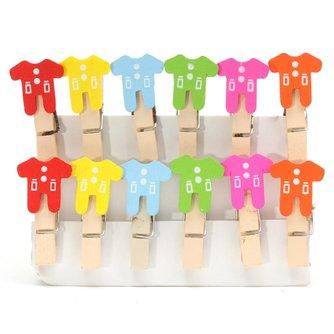 Mini Knijpertjes met Babykleertjes 12 Stuks