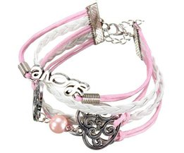 Leder Armband met een roze kleur