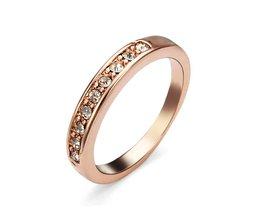 Kristallen ring in Roos goud