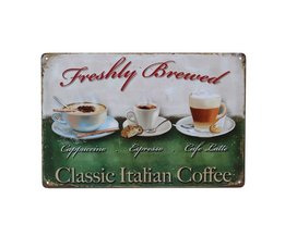 Vintage Koffie Wandplaat van Metaal 30x20CM
