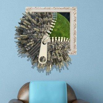 3D Rits Globe Muursticker van PVC