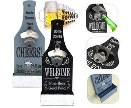 Bier Flesopener Wand Hout Vintage