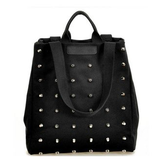 Zwarte Canvas Handtas met Rivets