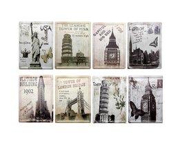 8 stuks metalen decoratie bordjes met wereldberoemde gebouwen