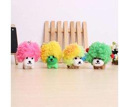 Pluche Mini Hondje met Grote Kleurrijke Haardos