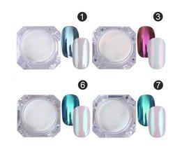 4 St Magische Spiegel Poeder Dust Nail Glitter DIY Nail Art Tips Pailletten Chrome Effect Pigment Nail Art Decoratie Gereedschap MyXL